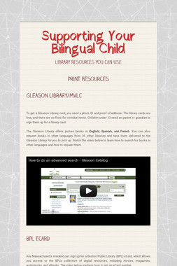 Supporting Your Bilingual Child