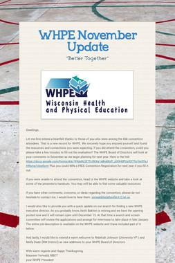 WHPE November Update