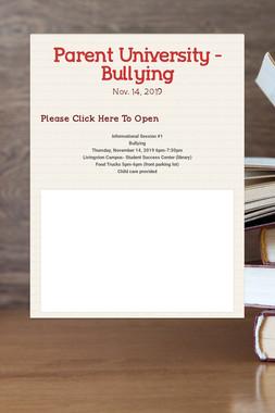 Parent University - Bullying