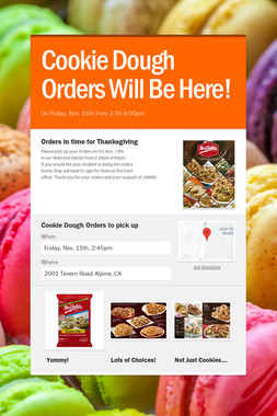Cookie Dough Orders Will Be Here!