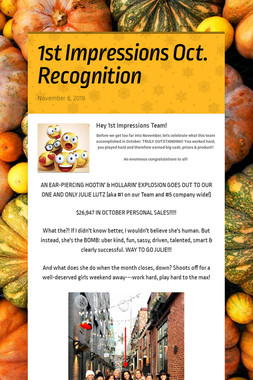 1st Impressions Oct. Recognition