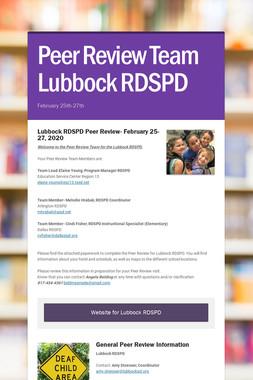 Peer Review Team Lubbock RDSPD