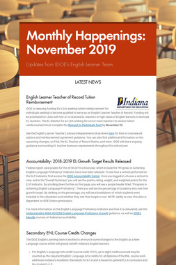 Monthly Happenings: November 2019