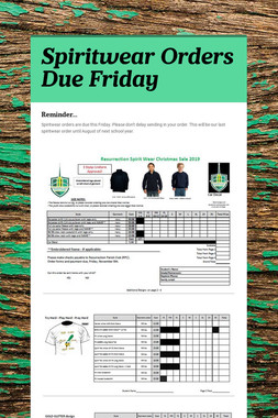 Spiritwear Orders Due Friday