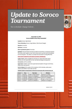 Update to Soroco Tournament