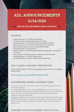 ADL Announcements 11/14/2019