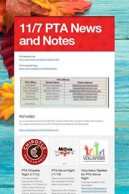 11/7 PTA News and Notes