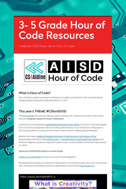 3- 5 Grade Hour of Code Resources