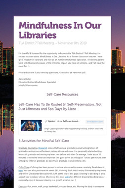 Mindfulness In Our Libraries