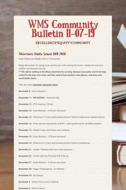 WMS Community Bulletin 11-07-19