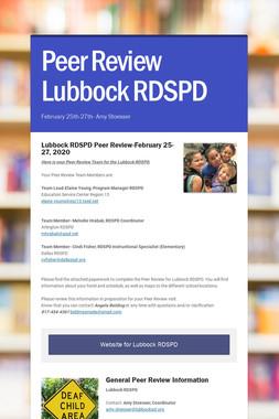Peer Review Lubbock RDSPD