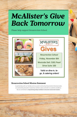 McAlister's Give Back Tomorrow