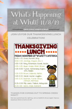 What's Happening at Whitt! 11/8/19