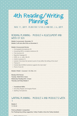 4th Reading/Writing Planning