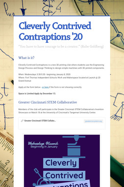 Cleverly Contrived Contraptions '20