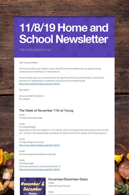 11/8/19 Home and School Newsletter