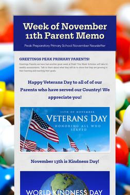 Week of November 11th Parent Memo