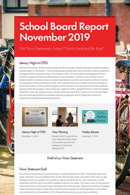 School Board Report November 2019