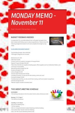 MONDAY MEMO - November 11