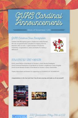 GVHS Cardinal Announcements