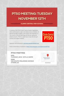 PTSO Meeting: Tuesday November 12th