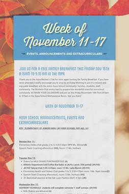 Week of November 11-17