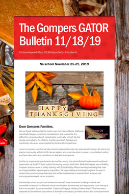 The Gompers GATOR Bulletin 11/18/19