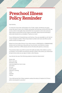 Preschool Illness Policy Reminder