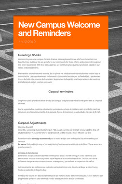 New Campus Welcome and Reminders