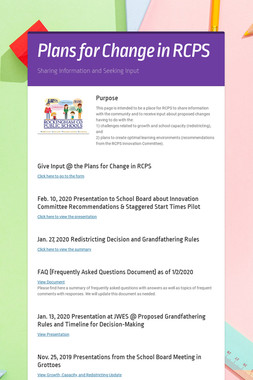 Plans for Change in RCPS