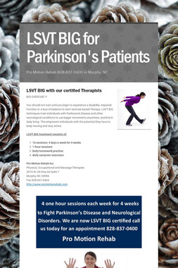 LSVT BIG for Parkinson's Patients