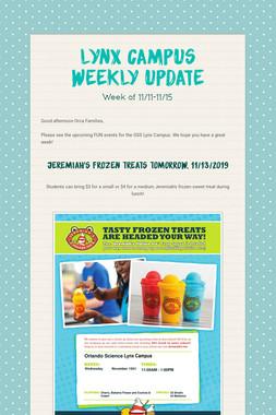 Lynx Campus Weekly Update
