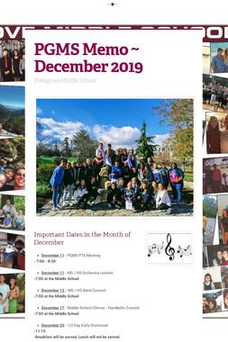 PGMS Memo ~ December 2019