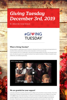 Giving Tuesday  December 3rd, 2019