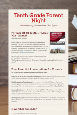 Tenth Grade Parent Night