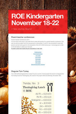ROE Kindergarten November 18-22