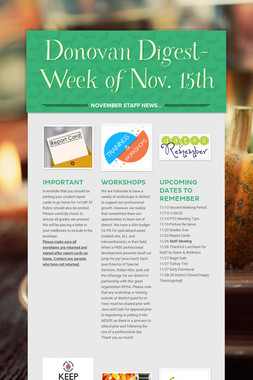 Donovan Digest-Week of Nov. 15th