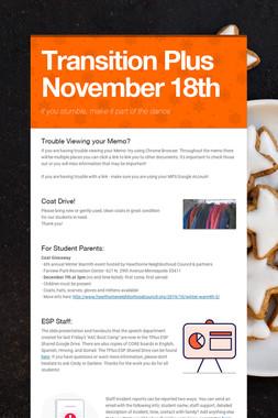 Transition Plus   November 18th