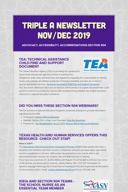 Triple A Newsletter Nov/Dec 2019