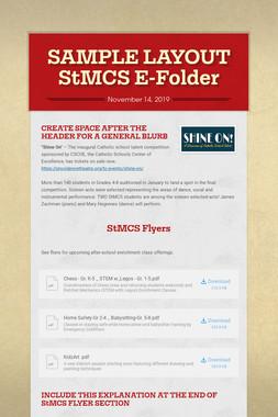 SAMPLE LAYOUT StMCS E-Folder