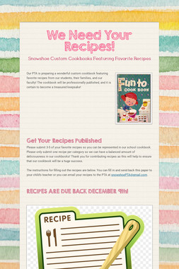 We Need Your Recipes!