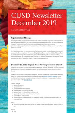CUSD Newsletter December 2019