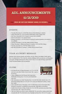ADL Announcements 11/21/2019