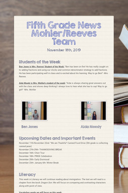 Fifth Grade News Mohler/Reeves Team