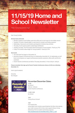 11/15/19 Home and School Newsletter
