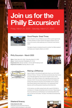 Join us for the Philly Excursion!