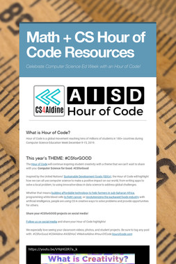 Math + CS Hour of Code Resources
