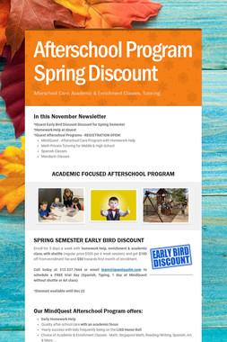 Afterschool Program Spring Discount