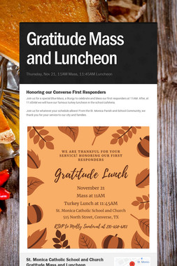 Gratitude Mass and Luncheon