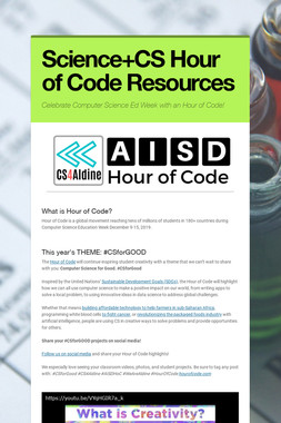 Science+CS Hour of Code Resources